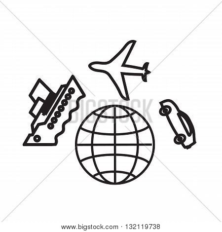 World travel icon. Autotravel concept. Travelling by ferry tour. Autotravel worldwide. Air travel illustration. World Travel icon, a group of objects.