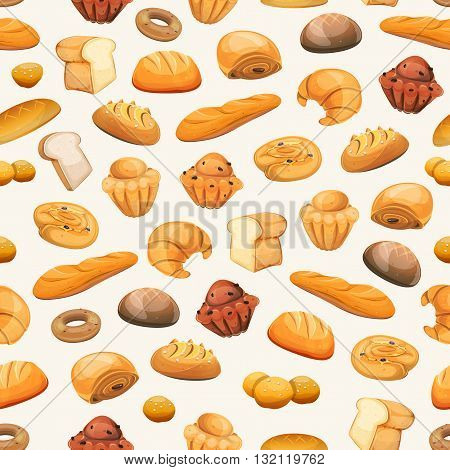 Illustration of a seamless bakery and pastry products background with bread and breakfast icons brioche viennoiserie cakes crescent donuts biscuits desserts and sweets