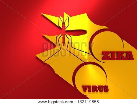 Virus diseases transmitter. Mosquito silhouette. Zika virus text. 3D rendering