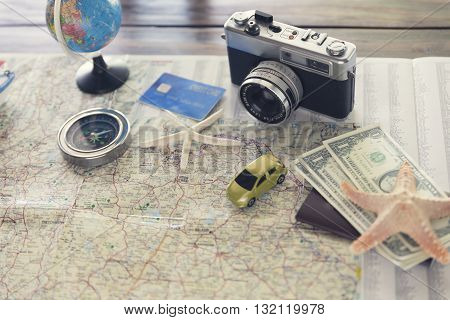 Compass, Passport, Credit Card, Banknote, Globe, Camera, Map, Car And Starfish Figurine For Use As T