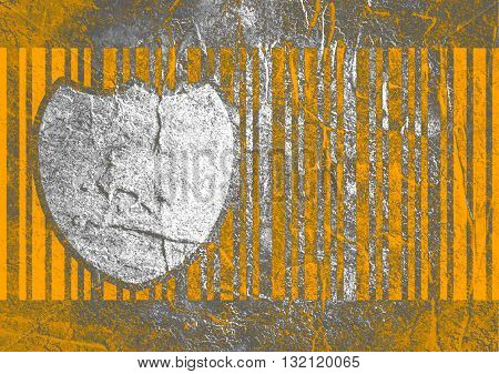 Buyer protection. Internet payments security. Bar code and shield. Concrete textured