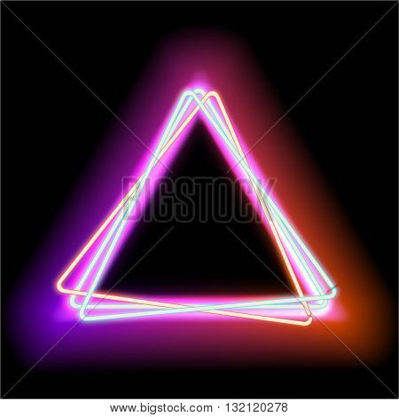 Neon triangle. Neon red light. electric frame. Vintage frame. Retro neon lamp. Space for text. Glowing neon background. Abstract electric background. Glowing electric frame