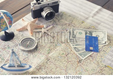 Compass, Credit Card, Banknote, Globe, Camera, Map, Ship Starfish Figurine For Use As Trip Vacation