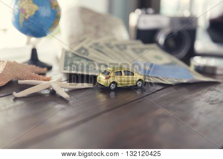 Car Figurine, Compass, Credit Card, Banknote, Globe, Camera, Map, Starfish For Use As Trip Vacation