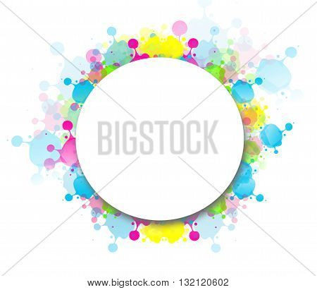 White blank circle with blots decoration on white background