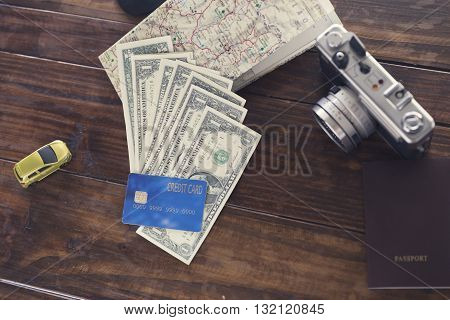 Passport, Credit Card, Banknote, Camera,map, Car Figurine For Use As Trip Vacation Concept (vintage