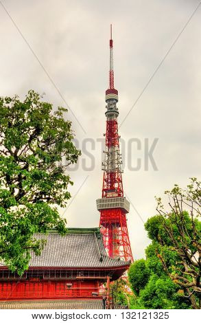 View of Tokyo Tower above Zojo-ji Temple - Japan