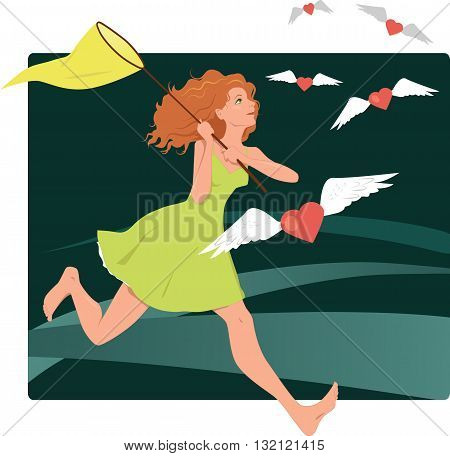 Catching hearts, looking for love. Vector illustration with a young woman with a butterfly net running after flying hearts