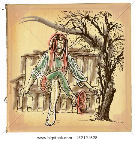 An hand drawn retro vector illustration colored line art. TILL EULENSPIEGEL. Vintage freehand sketch of a trickster figure originating in Middle Low German folklore sitting on a bench.