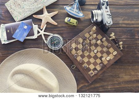 Chessboard, Hat, Compass, Passport, Credit Card, Banknote, Camera, Map, Ship Car And Starfish Figuri