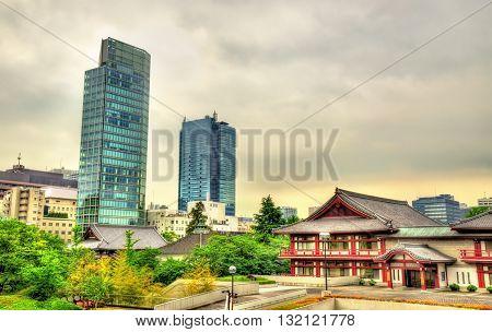 View of Zojo-ji Temple in Tokyo, Japan