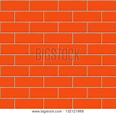 Cartoon Hand Drown Orange Seamless Brick Wall Texture. Vector Illustration