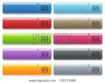 Set of news glossy color menu buttons with engraved icons