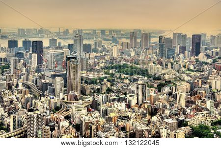 Aerial view of Tokyo, the capital of Japan