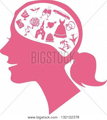 Mind of a bride. Female profile filled with assorted wedding theme icons