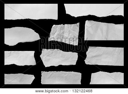 Hole paper , torn paper , black paper and ripped in paper on black. Copy space