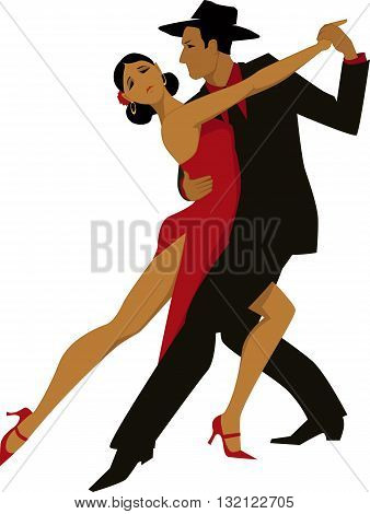 Hispanic couple dancing tango, EPS8 vector illustration