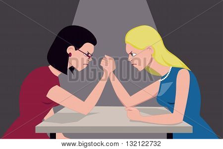 Brunette and blond women arm wrestling, illustrating cultural stereotype, vector illustration