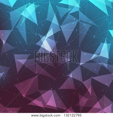 Connections background abstract background with many dots connected with lines outlined and filled in transparent triangles with mesh gradient
