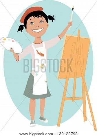 Little cartoon girl standing in front of an easel with a palette and a paintbrush