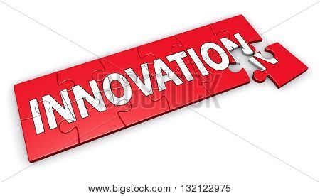 Business innovation concept with sign and word on a red jigsaw puzzle 3D illustration isolated on white background.