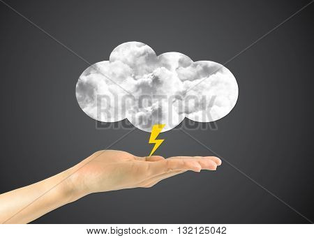 Icon Clouds With A Lightning In A Man's Hand