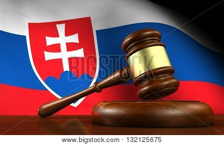 Slovakia laws legal system and justice concept with a 3D rendering of a gavel and the Slovak flag on background.