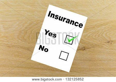 Insurance concept. Consent to the insurance contract