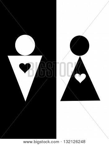 man and woman icon, minimal style, pictogram. Heart icon, love icon, restroom icon. Man and woman sign. Toilet sign