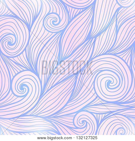 Blue and pink trendy colors hand drawn curly waves vector seamless pattern