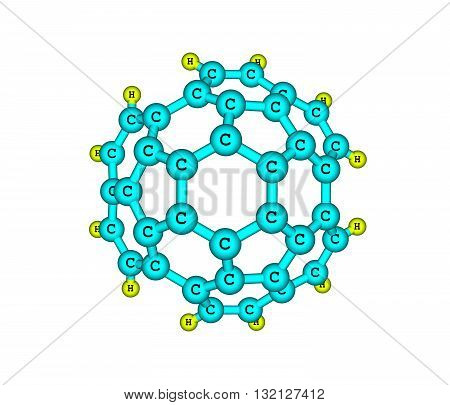 Circumtrindene is a polycyclic aromatic hydrocarbon. 3d illustration