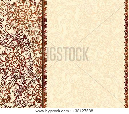 Vintage henna tatto mehndi flowers vector background