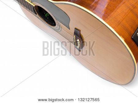 Acoustic guitar body music instrument isolated on white background
