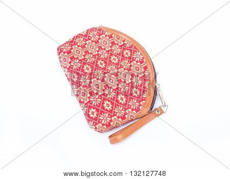 Fabric Handbags Bag for cosmetics with a floral pattern Wildflowers - isolated on white background