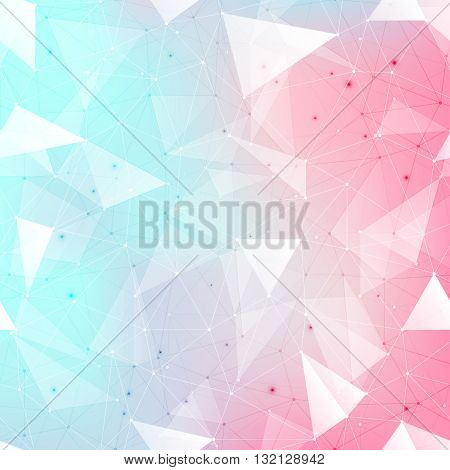 Connections background abstract background with many dots connected with lines outlined and filled in transparent triangles with beautiful soft colored mesh gradient
