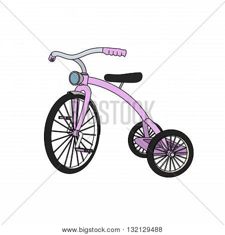 Beautiful colored 3D tricycle for girls vector illustration isolated on white background.