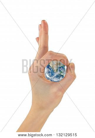 Gesture Hands Ok And The Planet Earth In The Center.  Nasa