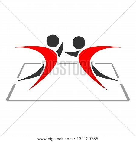 Two humans wrestling against each other icon vector illustration isolated on white background.