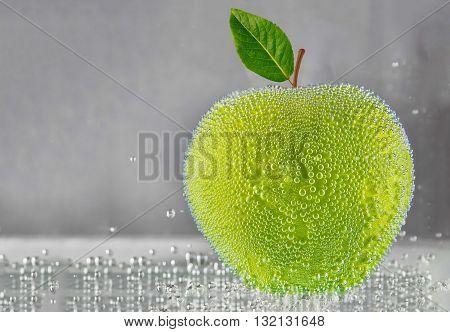 Green apple in water . design element