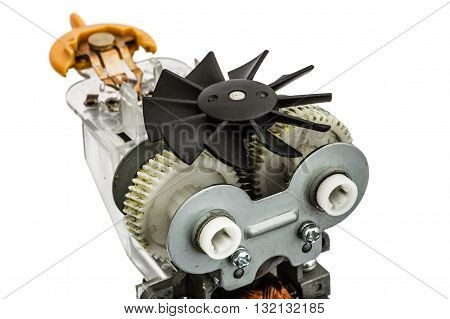 Part of electric motor with fan close-up isolated on white background