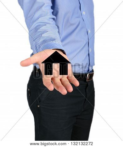 Business Man Holding A House Icon