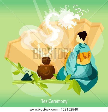 Tea Ceremony  Background. Tea Ceremony  Vector Illustration. Tea Ceremony  Design. Tea Ceremony Decorative Illustration.
