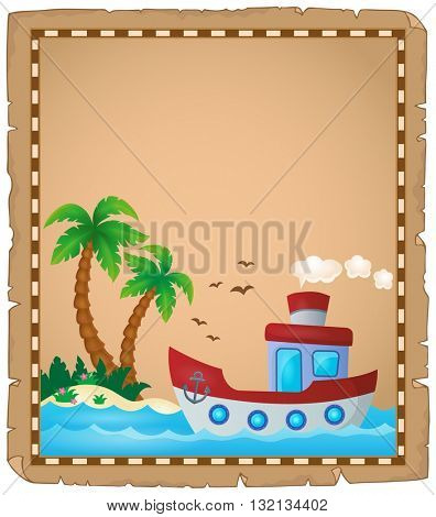 Parchment with nautical boat theme 2 - eps10 vector illustration.