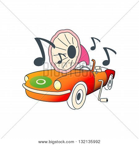 Colorful automobile like gramophone vector illustration isolated on white background.