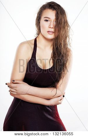 Beautiful Girl With Wet Hair On A White Background