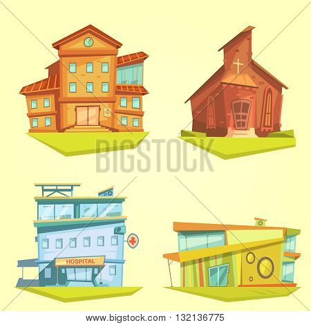 Building cartoon set with hospital church and school on yellow background isolated vector illustration