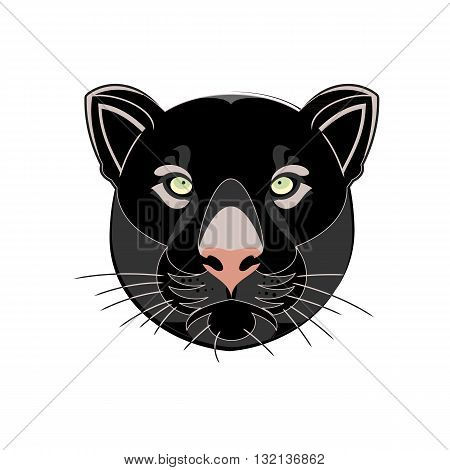 Beautiful black panther head silhouette vector illustration isolated on white background.