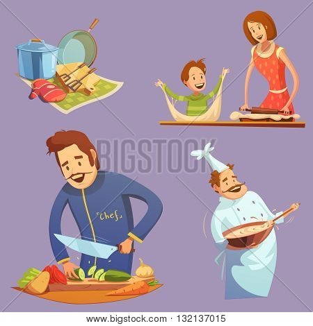 Cooking retro cartoon icon set utensil mother and son cutting chef vector illustration