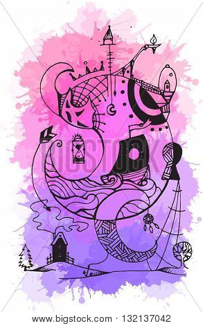 Greeting card with abstract ink drawing on the theme of the dream, the keeper of dreams with watercolor background for your creativity
