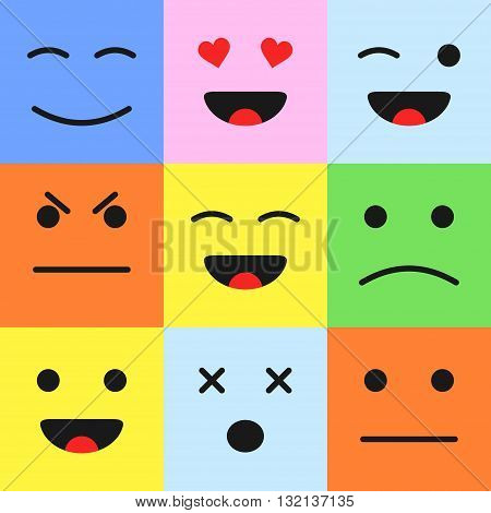 Set of colorful cartoon faces emoticons. Cartoon style smiles in flat style